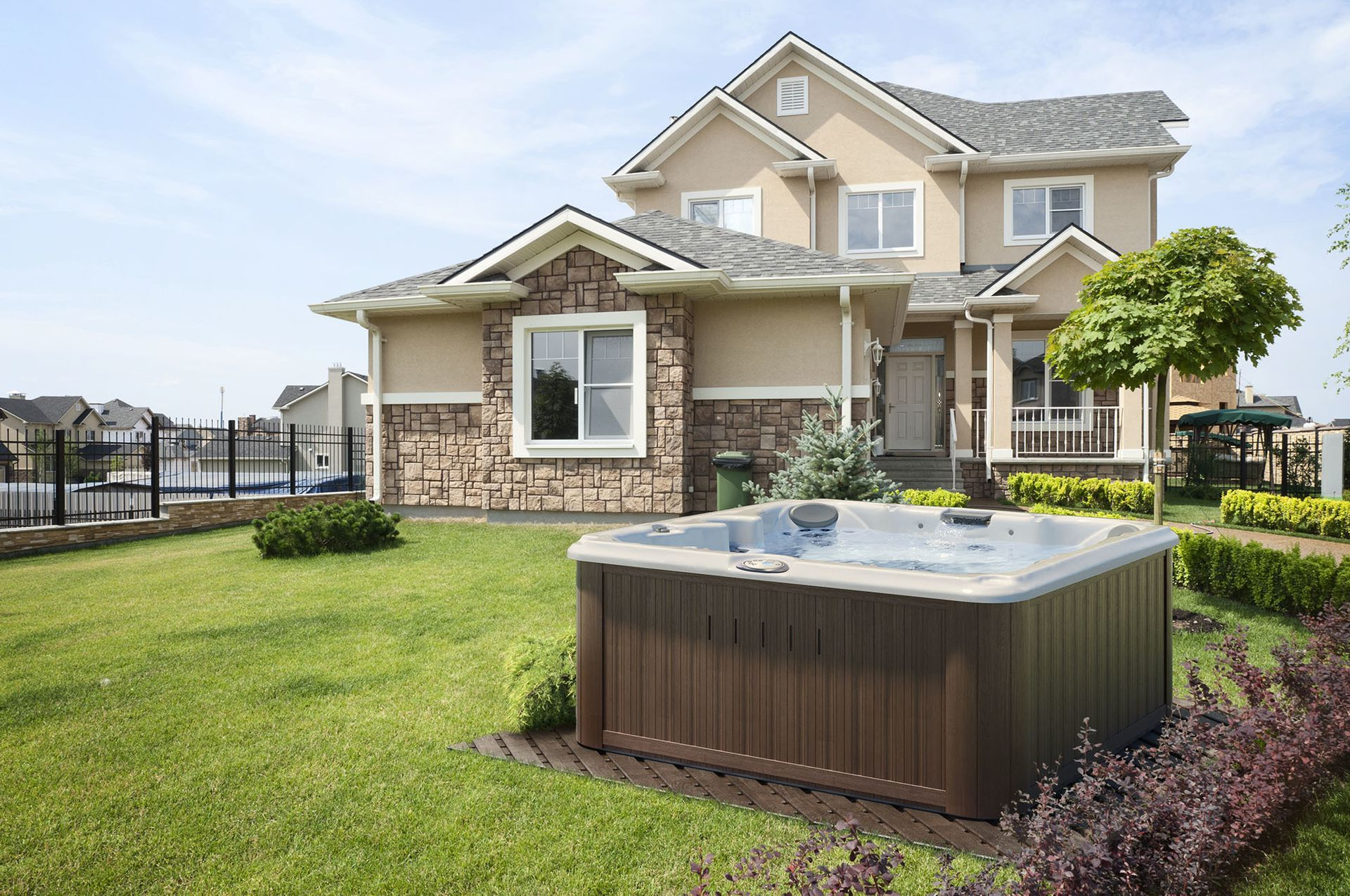 Outdoor spa installation with ideal hot tub water temperature